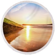 Touching The Golden Cloud Round Beach Towel
