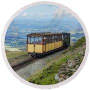 Train To Snowdon Round Beach Towel by Ian Mitchell