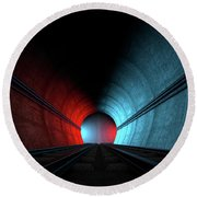 Train Tracks And Tunnel Split Choices Round Beach Towel