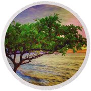 Tranquility  ... Round Beach Towel by Chuck Caramella