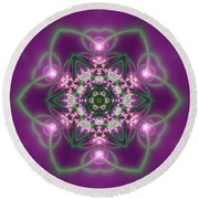 Round Beach Towel featuring the digital art Transition Flower 6 Beats 3 by Robert Thalmeier