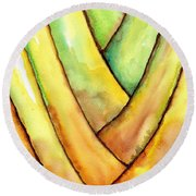 Travelers Palm Trunk Round Beach Towel