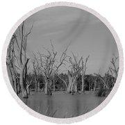 Round Beach Towel featuring the photograph Tree Cemetery by Douglas Barnard