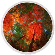 Tree Tops Round Beach Towel by David Stasiak