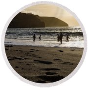 Round Beach Towel featuring the photograph Photographs Of Cornwall Trevellas Cove Cornwall by Brian Roscorla