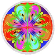 Tribute To Peter Max Round Beach Towel