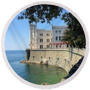 Trieste Miramare Castle Round Beach Towel