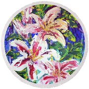 Tropical Flowers Round Beach Towel by Lynda Cookson