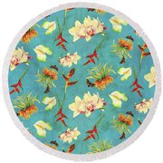 Tropical Island Floral Half Drop Pattern Round Beach Towel by Audrey Jeanne Roberts