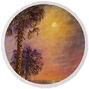 Tropical Moon Round Beach Towel by Lou Ann Bagnall