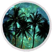 Tropical Night Round Beach Towel by Delphimages Photo Creations
