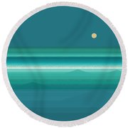 Round Beach Towel featuring the digital art Tropical Sea Moonrise by Val Arie