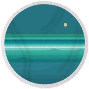 Tropical Sea Moonrise Round Beach Towel by Val Arie