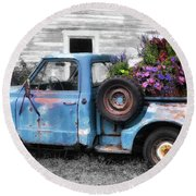 Truckbed Bouquet Round Beach Towel