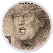 Trump Round Beach Towel by Ylli Haruni