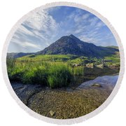 Round Beach Towel featuring the photograph Tryfan Mountain by Ian Mitchell