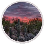Tucson Sunset Round Beach Towel