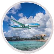 Tui Airlines Netherlands Landing At St. Maarten Airport. Round Beach Towel by David Gleeson