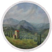 Tuscany Italy Olive Groves Round Beach Towel