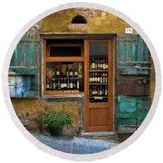 Tuscany Wine Shop 2 Round Beach Towel