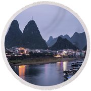 Twilight Over The Lijang River In Yangshuo Round Beach Towel
