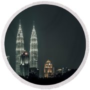 Twin Towers Round Beach Towel
