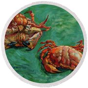 Two Crabs Round Beach Towel