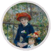 Two Sisters On The Terrace Round Beach Towel