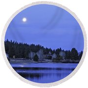 Under A Winter Moon Round Beach Towel by Nancy Marie Ricketts