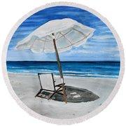 Under The Umbrella Round Beach Towel