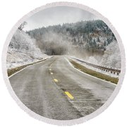 Round Beach Towel featuring the photograph Unexpected Autumn Snow Highland Scenic Highway by Thomas R Fletcher