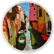 Unfinished Venice Italy  Round Beach Towel