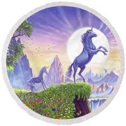 Unicorn Moon Round Beach Towel by Steve Crisp