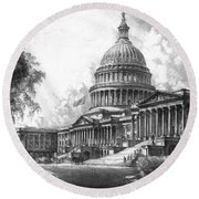 United States Capitol Building Round Beach Towel by War Is Hell Store