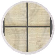 Round Beach Towel featuring the photograph United States Constitution, Usa by Panoramic Images