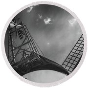 Unusual View Of Windmill - St Annes - England Round Beach Towel