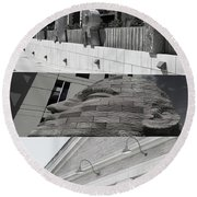 Round Beach Towel featuring the photograph Uptown Library by Susan Stone