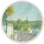 U.s. Thread Company Mills, Willimantic, Connecticut Round Beach Towel