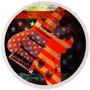 Round Beach Towel featuring the photograph Usa Strat Guitar Music by Guitar Wacky