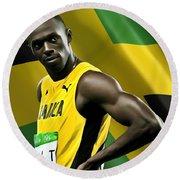 Usain Bolt Round Beach Towel