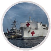 Uss Comfort Round Beach Towel by Melissa Messick