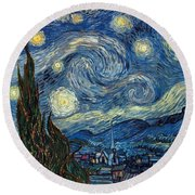 Round Beach Towel featuring the painting Van Gogh Starry Night by Granger