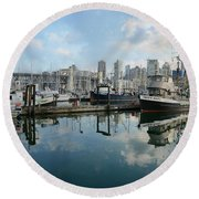 Vancouver Cityscape Round Beach Towel