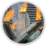 Vancouver Olympic Cauldron Round Beach Towel