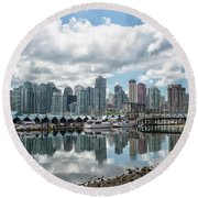Vancouver Skyline Round Beach Towel by Patricia Hofmeester