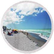 Round Beach Towel featuring the photograph Venice Beach by Gary Wonning