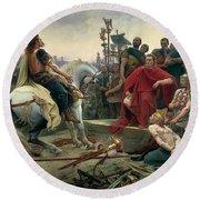 Vercingetorix Throws Down His Arms At The Feet Of Julius Caesar Round Beach Towel