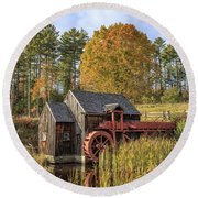 Round Beach Towel featuring the photograph Vermont Grist Mill by Edward Fielding
