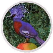 Victoria Crowned Pigeon On A Mango Round Beach Towel by Leah Saulnier The Painting Maniac