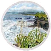 Round Beach Towel featuring the painting View From Tanah Lot Bali Indonesia by Melly Terpening